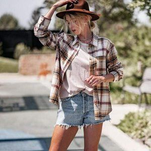 Busy Doing Cowgirl Things Flannel Shirt-Saffron